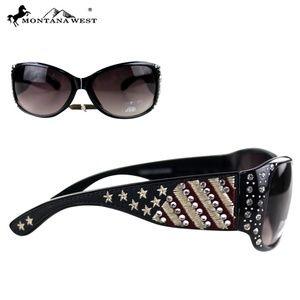 American Flag Rhinestone Sunglasses - Navy Blue